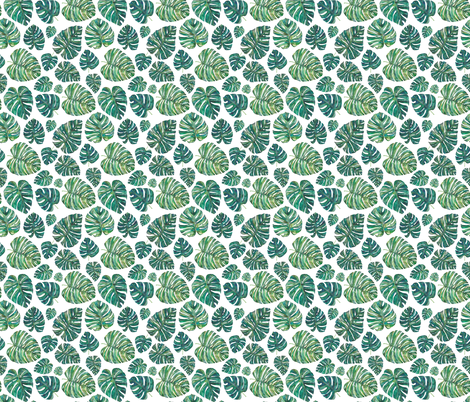 Green Tropical Leaves Smaller fabric by elena_o'neill_illustration_ on Spoonflower - custom fabric