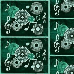 Musical Daze in Monochromatic Blue Green - MD34