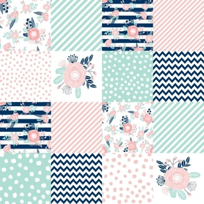 cheater quilt fabric girls fabric pink mint and navy floral cheater fabric