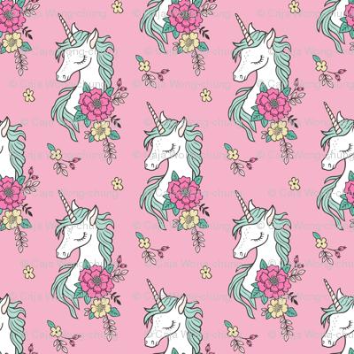 Dreamy Unicorn & Vintage Boho Flowers on  Pink Smaller