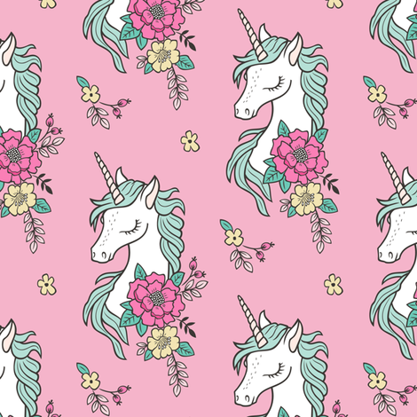 Dreamy Unicorn & Vintage Boho Flowers on  Pink Smaller fabric by caja_design on Spoonflower - custom fabric