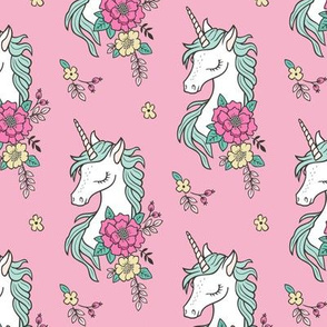 Dreamy Unicorn & Vintage Boho Flowers on  Pink Smaller