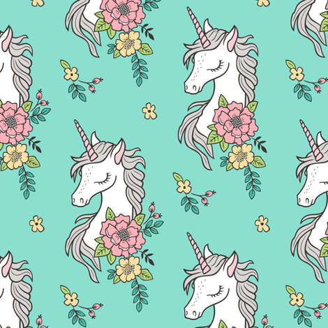 Dreamy Unicorn & Vintage Boho Flowers on  Mint Smaller fabric by caja_design on Spoonflower - custom fabric