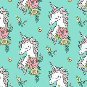 Dreamy Unicorn & Vintage Boho Flowers on  Mint Smaller