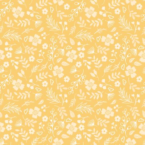 Timeless - Mini Floral, Gold fabric by malibu_creative on Spoonflower - custom fabric