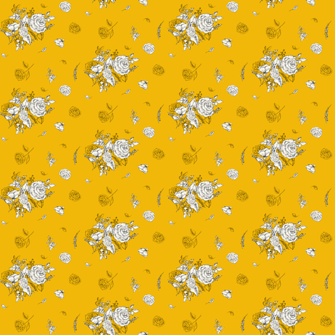 "2"" Black and White Roses - Yellow fabric by shopcabin on Spoonflower - custom fabric"