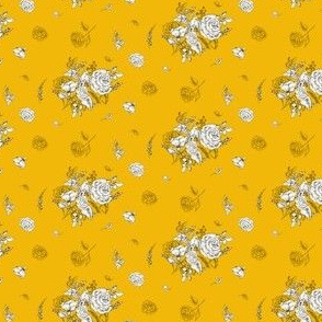 """2"""" Black and White Roses - Yellow"""