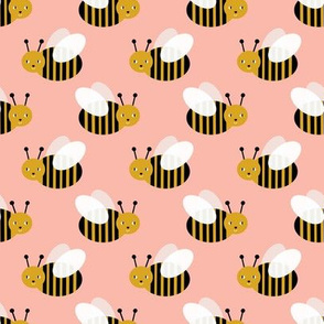 bumble bee fabric bees garden summer cute stripes baby nursery peach