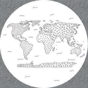 Modern World Map Grey