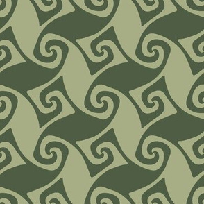 spiral trellis in olive and sage
