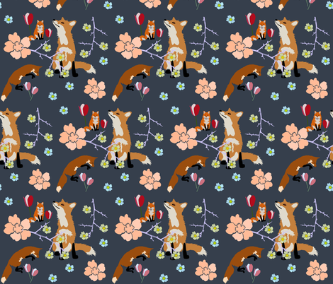 Foxes and Flowers fabric by redthanet on Spoonflower - custom fabric