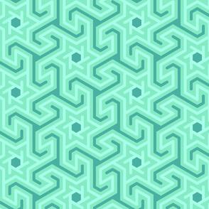Geometric swirls, aqua