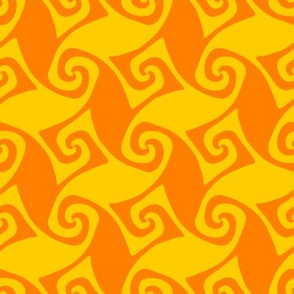 spiral trellis - saffron yellow and orange