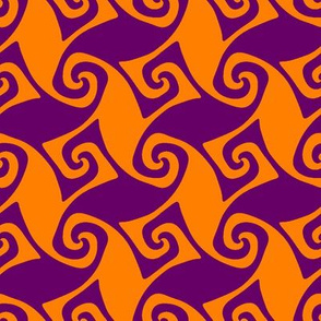 spiral trellis - India orange and dark purple