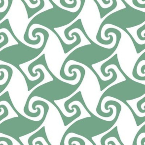 spiral trellis - light green and white