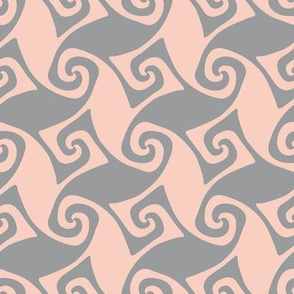 spiral trellis - peach and grey