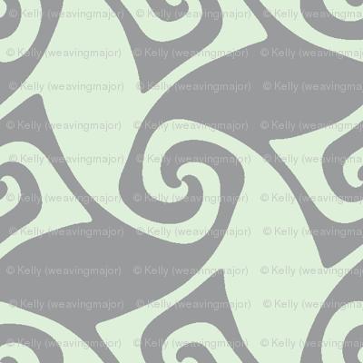 spiral trellis - cucumber and grey