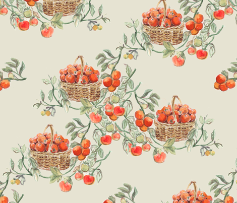 Tomato Harvest Watercolor fabric by eclectic_house on Spoonflower - custom fabric