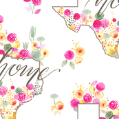 Texas Southern home watercolor watercolour floral_Miss Chiff Designs