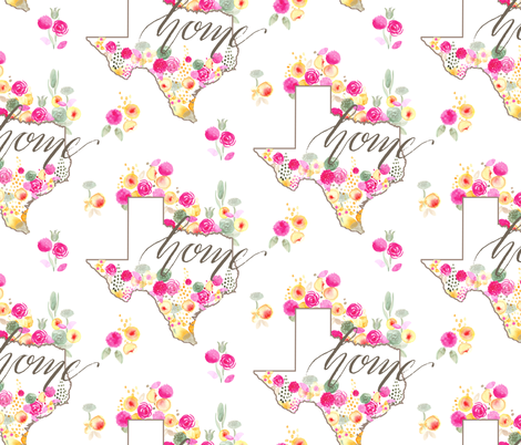 17-09C LARGE Texas Southern home watercolor watercolour floral_Miss Chiff Designs   fabric by misschiffdesigns on Spoonflower - custom fabric