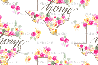 17-09A Texas Watercolor Floral Home Calligraphy 6x4