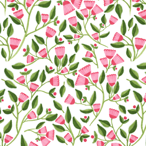 Pink Flowers fabric by jacquelinehurd on Spoonflower - custom fabric