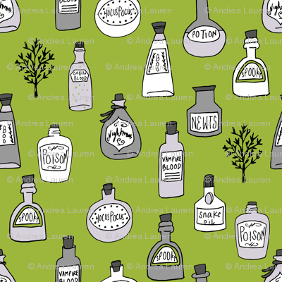 halloween potions fabric // spooky scary witches potions hocus pocus, halloween design - lime green