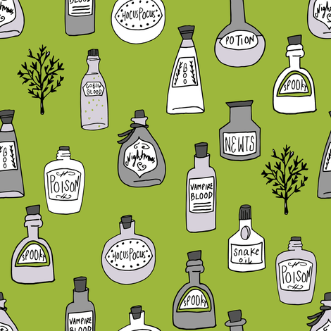 halloween potions fabric // spooky scary witches potions hocus pocus, halloween design - lime green fabric by andrea_lauren on Spoonflower - custom fabric