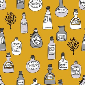 halloween potions fabric // spooky scary witches potions hocus pocus, halloween design - mustard orange