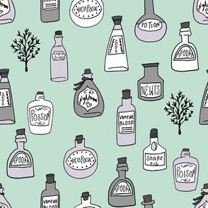 halloween potions fabric // spooky scary witches potions hocus pocus, halloween design - mint