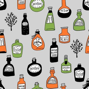 halloween potions fabric // spooky scary witches potions hocus pocus, halloween design - orange and lime