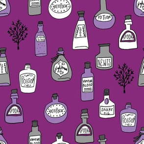 halloween potions fabric // spooky scary witches potions hocus pocus, halloween design - purple