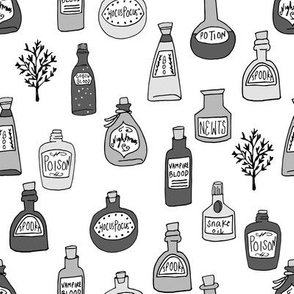 halloween potions fabric // spooky scary witches potions hocus pocus, halloween design - grey