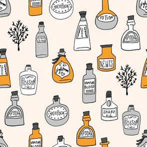 halloween potions fabric // spooky scary witches potions hocus pocus, halloween design - orange and cream