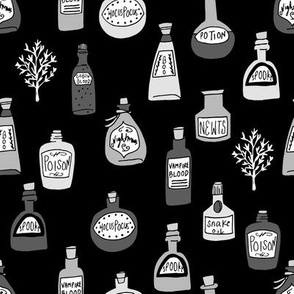 halloween potions fabric // spooky scary witches potions hocus pocus, halloween design - black