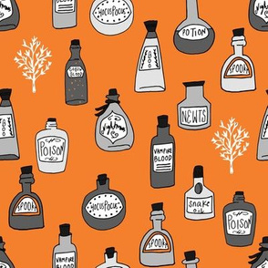 halloween potions fabric // spooky scary witches potions hocus pocus, halloween design - orange and grey