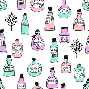 halloween potions fabric // spooky scary witches potions hocus pocus, halloween design - pastel