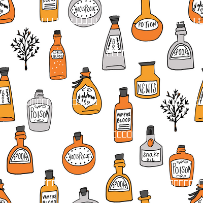 halloween potions fabric // spooky scary witches potions hocus pocus, halloween design - white