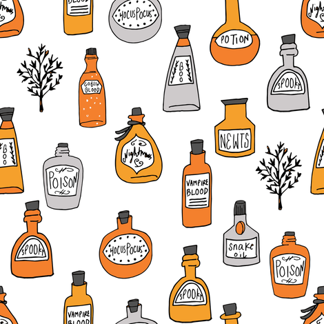 halloween potions fabric // spooky scary witches potions hocus pocus, halloween design - white fabric by andrea_lauren on Spoonflower - custom fabric