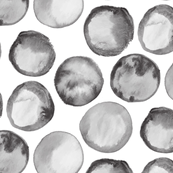 Watercolor spots Gray Black White Neutral Abstract Polka Dots