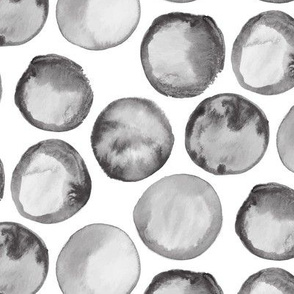 Large Watercolor Polka Dots || Spots Drops  Gray Grey Black White Neutral Abstract _ Miss Chiff Designs
