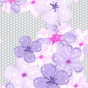 Watercolor pansy violet pink purple floral botanical on gray_Miss Chiff Designs