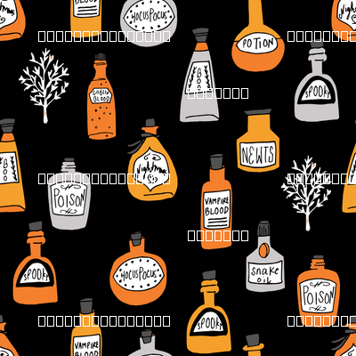halloween potions fabric // spooky scary witches potions hocus pocus, halloween design - orange and black