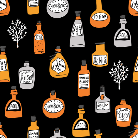 halloween potions fabric // spooky scary witches potions hocus pocus, halloween design - orange and black fabric by andrea_lauren on Spoonflower - custom fabric
