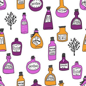 halloween potions fabric // spooky scary witches potions hocus pocus, halloween design - orange and purple