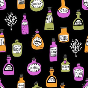 halloween potions fabric // spooky scary witches potions hocus pocus, halloween design - brights