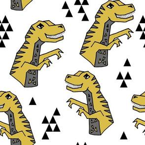 dinosaur fabric  // dinos dino prehistoric jurassic yellow dinosaur trex tyrannosaurus rex t-rex mustard yellow