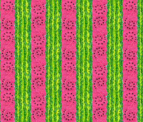 Water(color)melon Stripe fabric by ameliae on Spoonflower - custom fabric