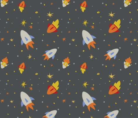 Rockets in space fabric little red pony spoonflower for Red space fabric