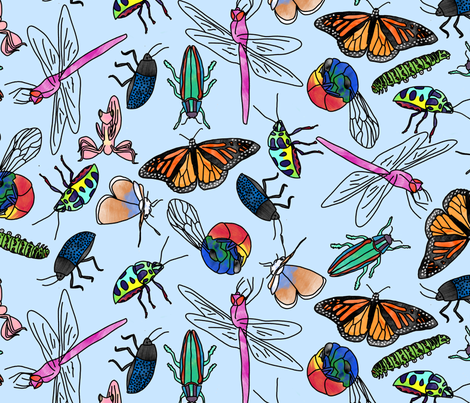 Watercolor Insects fabric by chiral on Spoonflower - custom fabric
